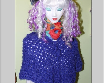 Royal Cobalt Blue Crocheted Poncho