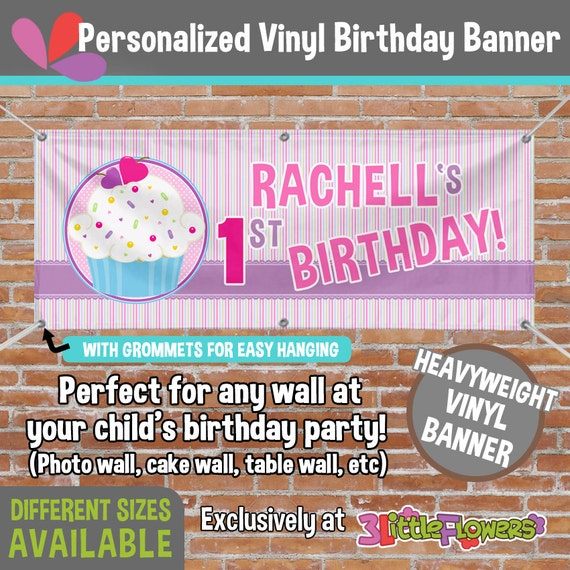 Birthday Cupcake Vinyl Banner