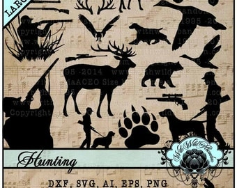 Hunting SVG, Deer Hunt Svg, Buck Head Cutting File, Antler Silhouette, Gun SIlhouette, Duck Cameo Silhouette Design, Cricut Design
