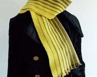 vintage 1970s yellow fringed Scarf / wool retro woven scarf / striped mod scarf unisex