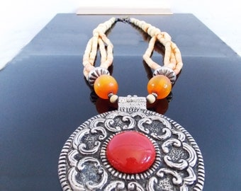 vintage 1970s huge tribal metal pendant necklace / 70s hippie boho necklace /  chunky bead statement runway necklace