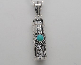 Turquoise and Sterling Silver Cremation Jewelry Urn Necklace Memorial Keepsake Pendant Urn Cylinder Urns for Person or Pet Memorial Urns