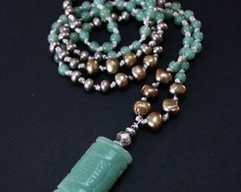 Boho-Chic-Handknotted Long Aventurine Freshwater Pearl Necklace