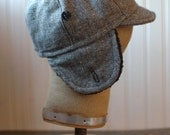 Flapjack XS: black wool tweed winter weight cycling cap with furry earflaps, warm winter hat, soft wooly biker ear flap hat for boy or girl