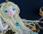 SILVER SPRINGS Mermaid, the original soft sculpture Kaerie Faerie art doll, free shipping in the USA