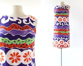 Vintage Tiki Dress / 1960s Dress / 60s Shift Dress / XS