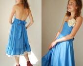 Draped Halter Dress Vintage 70s Dust Blue Prairie Bohemian Halter Apron Maxi Dress (s m)