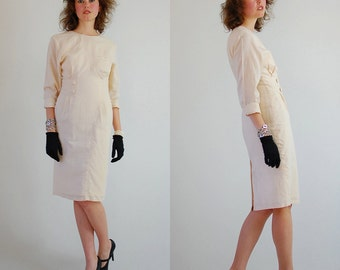 80s Sheath Dress Vintage Palest Peach Linen Avante Garde Indie Urban Sheath Dress (s)