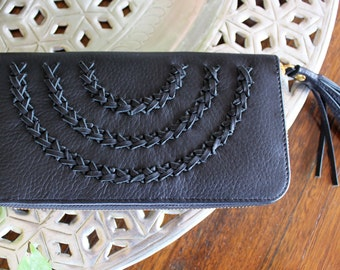 Long Leather Wallet Zip Closure Genuine Cow Leather - Black with Woven leather braid and tassel