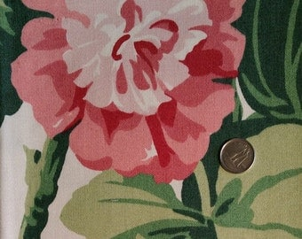 FL018 ~ Floral fabric Pink geraniums Large flowers Cotton fabric
