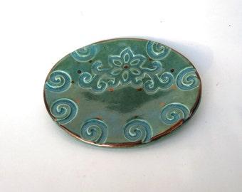 Ceramic Spirals Collectible Spoon Rest and Tea Bag Holder Handmade Porcelain Kitchen Decor Celtic Gift