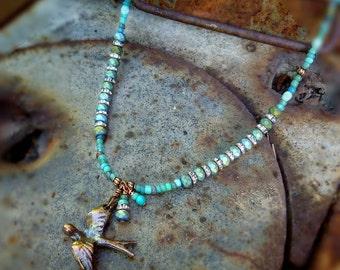 Free Bird copper barn swallow beaded necklace - boho free spirit glass beaded - cowgirl southwestern