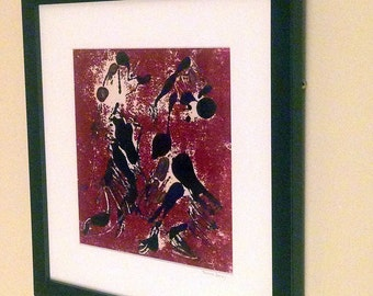 Monotype Print, Original Monoprint, Abstract Art, Abstract Painting, Original Art, Printmaking, Framed Wall Art, Living Room Art, Red, 13x13