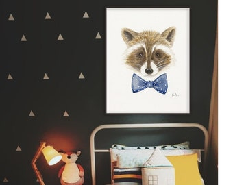 PRINTABLE FILE  Raccoon poster, raccoon art illustration, childrens room art, nursery room art, racoon art, kids room art decor, racoon art