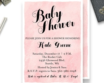 Watercolor Baby Shower Invitation   Pink Baby Shower Invitation   Pink Watercolor Baby Shower Invitation   Pink   Girl   {BS56}