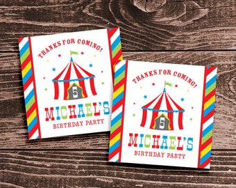 Personalized Circus Party Favor Tags or Stickers – DIY Printable – Big Top Red (Digital File)