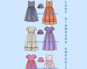 Simplicity 9608 Girls Dress Sundress in 2 Lengths + Hat size 3 4 5 6 Overlay Option Party Dress Six Made Easy Sewing Pattern Uncut FF # 699