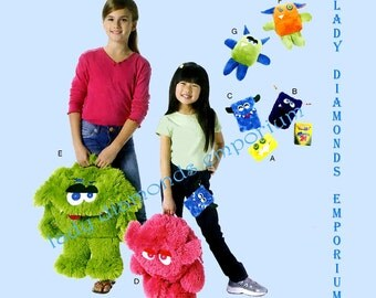 McCalls M6337 Boys & Girls Monster Backpack 2 Sizes, 3 Cases, 2 Stuffed Monster Toys Great Christmas Gift Idea Sewing Pattern 6337 Uncut FF