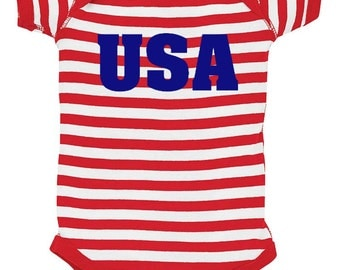 USA Baby Bodysuit - Red White & Blue