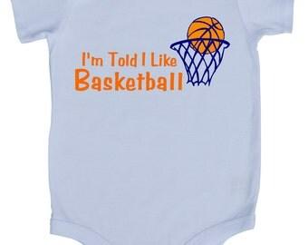 I'm Told I Like Basketball Graphic Baby Bodysuit