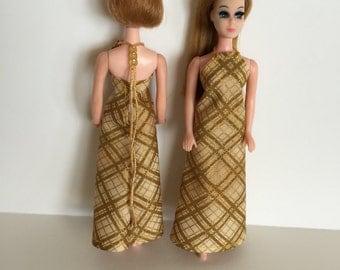 Handmade Dawn Clothes Gold Metallic Plaid Formal Dress