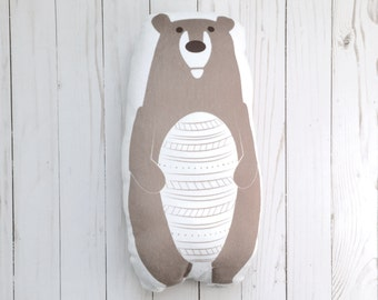 Grizzly Bear Handmade Plush Pillow Woodland Crib Bedding Rustic Nursery Decor Soft Baby Toy Decorative Animal Cushion Shower Gift Under 50