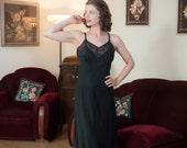 Vintage 1940s Slip - Elegant Bias Cut Sleek Black Slip with Sheer Lace Bust