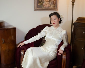 Vintage 1930s Wedding Gown - Glimmering Off White Satin Bias Cut Late 30s Bridal Dress with Peaked Shoulders and Lace Detailing