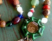 Water Spigot Resin Necklace French Girl Flower Green Assemblage Mixed Media Funky Jewelry Art Jewelry Hardware Neclace