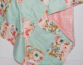 floral baby quilt- pink baby girl quilt- mint baby quilt- baby girl bedding--minky baby quilt- coral pink baby quilt-  baby girl quilt