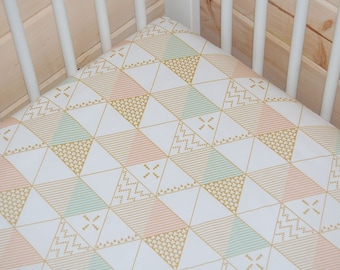 girl crib bedding, gold, mint, peach, triangles fitted crib sheet- mint and gold baby bedding-  gold crib sheet / mint changing pad cover