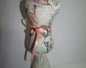 Lady Statue Pin Cushion in a cream birdie print