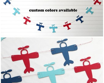 Airplane Garland - 4 inch Airplanes - Airplane Baby Shower Airplane Banner Airplane Party Decor Airplane Birthday Party Baby Shower Banner