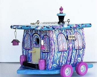 Large , Whimsical , Gypsy Queen Wagon Birdhouse , Handcrafted , Hand Painted , Unique