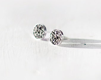 Pyrite Earrings / Grey Earrings / Stud Earrings / Minimal Earrings