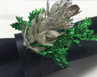 Sparkly Emerald Green Napkin Rings for Christmas or Wedding or Dinner Party