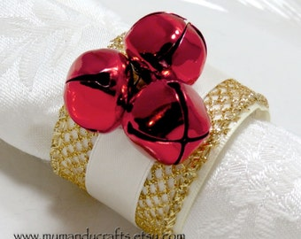 Red Jingle Bell Napkin Rings for Christmas or Dinner Party
