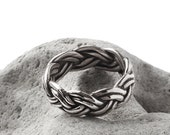 Sterling Silver Braided Ring band - oxidized and polished - made in my Austin, Tx studio