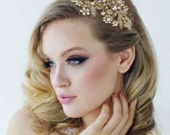 Gold pearl wedding headband bridal headband tiara bridal floral flower crystal wedding bridal hair accessories