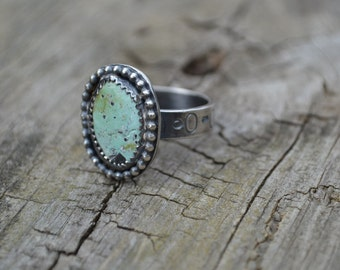 Royston Turquoise and Sterling Silver Ring  Size 8 1/4