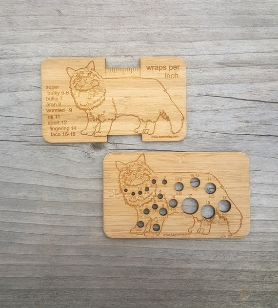 Knitting Gauge Tool : Cat knitting needle gauge and wraps per inch tool by