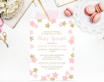 Twinkle Twinkle Baby Sprinkle Invitations Baby Shower Blush Pink Gold Glitter New Baby Party Invitations 5x7 Invites Birthday Invites