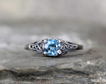 Blue Topaz Ring - December Birthstone Ring - Antique Style Blue Topaz Ring - Dark Sterling Silver - Blue Gemstone Rings - Filigree Ring