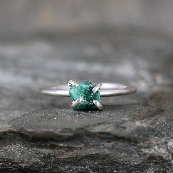 Uncut Raw Rough Green Emerald Ring - Sterling Silver Solitaire  - May Birthstone Ring - Raw Green Gemstone Ring - Stacking Ring