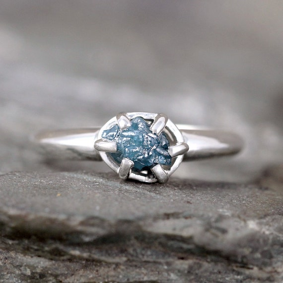 raw blue diamond ring uncut rough blue diamond by asecondtime