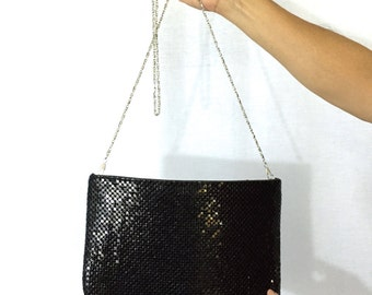 Vintage Black Chainmaille Purse. Crossbody Purse. Evening Purse. Formal Bag. Chainmail. Silver Chain Strap. Under 30.