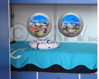 Double Porthole Coral Reef vinyl wall lettering kids room decor boat ocean theme wall decal self adhesive sticker