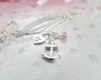 Anchor Charm Pendant - Hand Stamped Initial Necklace - Sterling Silver Charm Jewellery - Swarovski Crystal Necklace - Charm Necklace