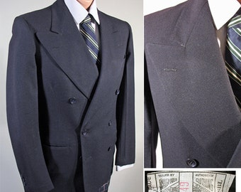 1940s Vintage Men's Double Breasted Sport Coat Jacket Midnight Blue Sz 36-37