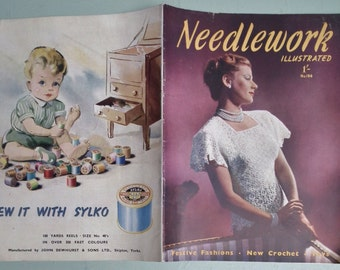 Vintage 1940s Sewing Knitting Magazine - Needlework Illustrated No. 194 UK - 40s crochet pattern women's lacy sweater top - sequin jewellery